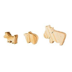 Cachorro, vaca e porco - Animais de madeira