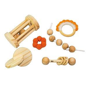 Kit Montessori para bebês - chocalhos, discos e contas 6 pçs
