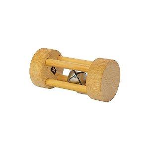 Chocalho Montessori redondo pequeno de madeira clara guizo