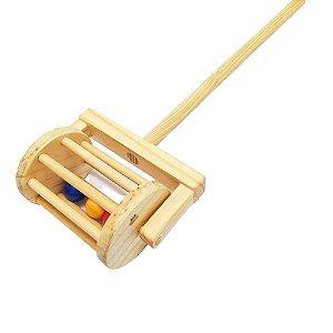 Brinquedo de madeira Chocalho andador com bolinhas coloridas
