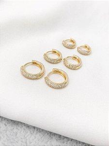 Trio de Argolas Marie microcravejadas banhadas a ouro