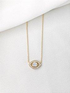 Colar Greek cristal banhado a ouro