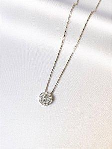 Colar Medalha Crucifixo cravejado prata