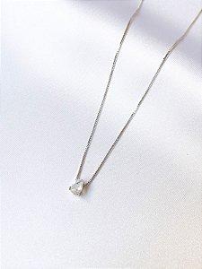Colar Gota mini cristal em banho de ouro branco