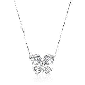 Colar Butterfly banhado a ouro branco