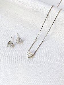 Conjunto Coração delicado prata
