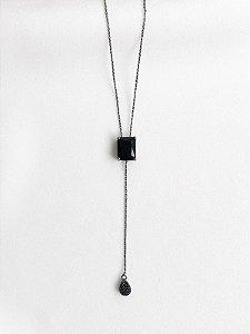 Colar Gravatinha retangular ródio negro