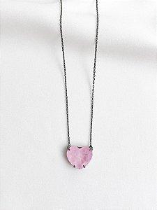 Colar Heart Light Pink fusion ródio negro
