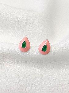 Brinco Elisabeth rosa e verde banhado