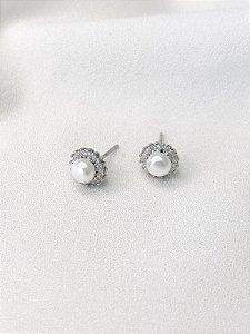 Brinco Flora com pérola barroca em prata 925