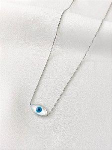 Colar Olho Grego madrepérola prata banhado