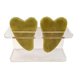 Gua Sha Verde Raspagem Pedra Jade Natural - 2 Peças Com Rack Organizador Acrílico