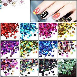 Glitter para unhas Estrelinha Várias Cores