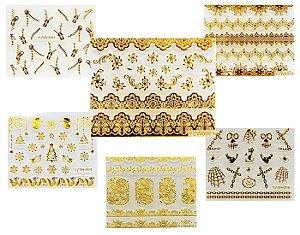Adesivos 3D dourados de unha