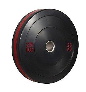 Anilha olímpica de ferro fundido Bumper Plate com anel vermelho 25kg 10100525
