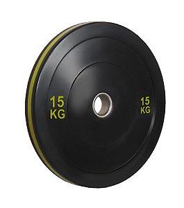 Anilha olímpica de ferro fundido Bumper Plate com anel amarelo 15kg 10100515