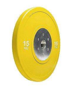 Anilha olímpica de poliuretano Bumper Plate amarela 15kg 10100415