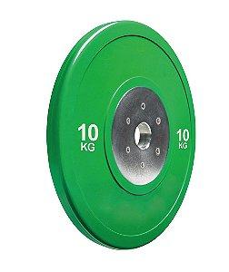 Anilha olímpica de poliuretano Bumper Plate verde 10kg 10100410
