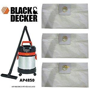 03 Sacos Descartável Aspirador De Pó Black E Decker Ap4850