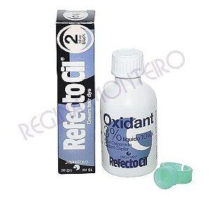 Kit de Tintura para Cilios e Sobrancelhas Refectocil 2 Preto Azulado com OX de 50ml