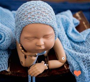 Wrap Trabalhado com Gorro Azul Bebê