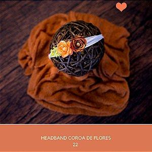 Headband Coroa de Flores Laranja