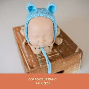 Gorro de Ursinho Azul Bebê