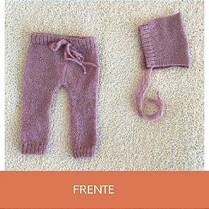 Conjunto de Mohair de Calça com Bolso e Gorro Lilás Queimado