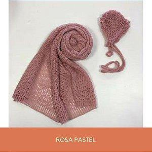Wrap Trabalhado com Gorro Rosa Pastel
