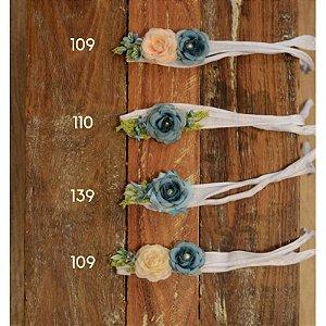 Headband Coroa de Flores Azul