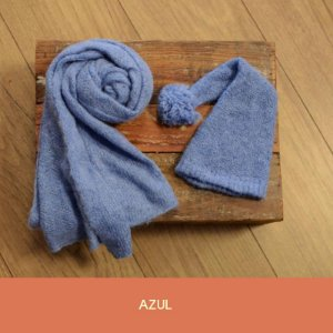 Wrap de Mohair  com Gorro Funil Azul
