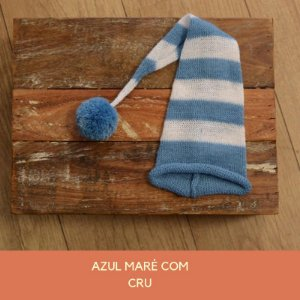 Gorro Funil de Tricot Listrado Azul Maré com Cru