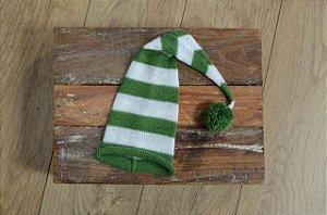 Gorro Funil de Tricot Listrado Verde Folha com Cru