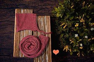 Conjunto Wrap Liso com Gorro Rosa Rosê