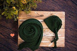 Wrap Trabalhado com gorro Verde Musgo