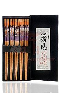 Hashi de Bambu GUEIXA VIOLETA com 5 pares