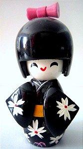 Boneca Kokeshi Pequena - Preta Margarida