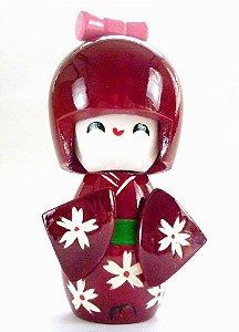 Boneca Kokeshi Pequena - Vinho Margarida