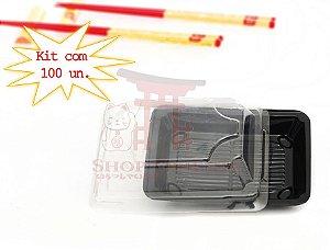 Embalagem Descartável para Sushi  10 cm x 6,5 cm (100 unidades)