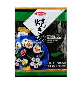 Nori - Alga Marinha para Sushi e Temaki com 10 folhas - Sukina