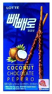 Biscoito Palito com Cobertura de Coco e Chocolate (Coconut Chocolate Pepero) 32 g - Lotte