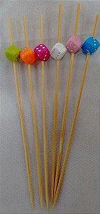 Espeto de Bambu decorado Dado 12 cm com 25 unidades