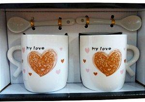 Jogo de 2 Canecas de Porcelana - Coração