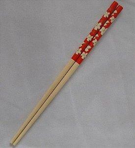 Hashi de Bambu - Floral Vermelho