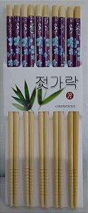 Hashi de Bambu com 5 pares - Florido Azul e Roxo