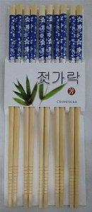 Hashi de Bambu com 5 pares - Florido Azul e Prata
