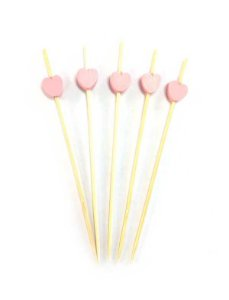 Espeto de Bambu decorado Coração Rosa 12 cm com 25 unidades