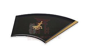 Bandeja para sushi e sashimi em leque com ideograma japonês 701 L