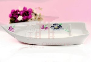 Barco Pequeno para Sushi e Sashimi 26 cm - Branco Florido