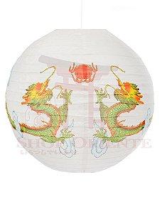 Luminária Japonesa Redonda Dragão 40 cm